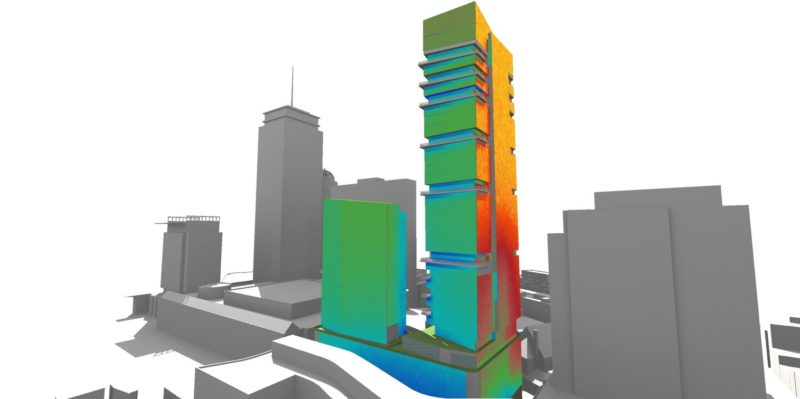 Office tower solar radiation