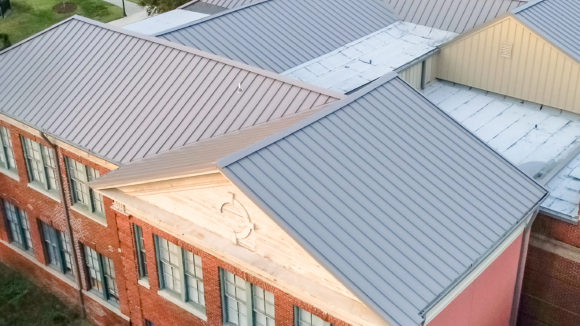 Standing seam roofs-over wings, sections