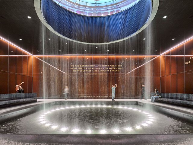 The Contemplative Court at the National Museum of African American History and Culture, Washington, D.C., is the Interiors winner in the 2017 Metal Architecture Design Awards