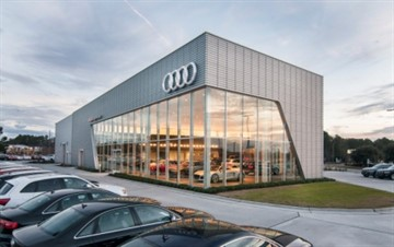 2015 Metal Architecture Design Awards, Ribbed Metal Panels Award, Audi Cape Fear, Wilmington, N.C.,