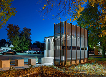 2015 Metal Architecture Design Awards, Judges Award, Corinthian Gardens Smokers Shelter Des Moines, ASK Studio, McNichols