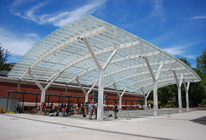 inc tualatin ore bent the steel canopy at the oregon state university osu student experience center in corvallis ore the 8000 square foot glass