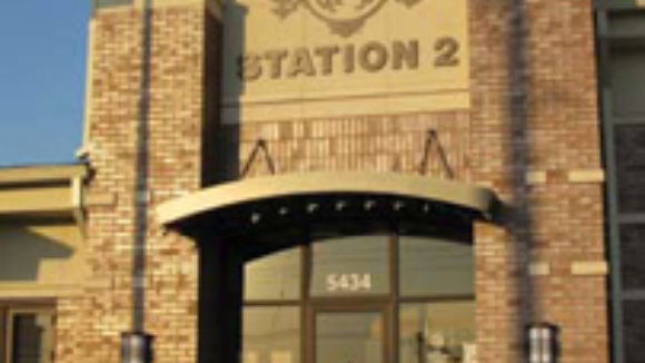 Metal canopy highlights fire station