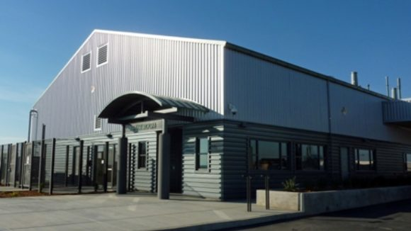 Waste center features metal panels
