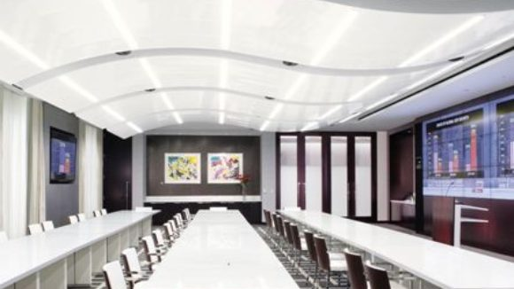 Metal ceiling renovates office building
