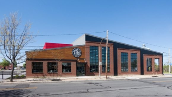 Metal building houses brewery