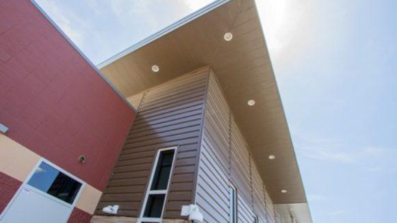 Concealed faster panels clad police station
