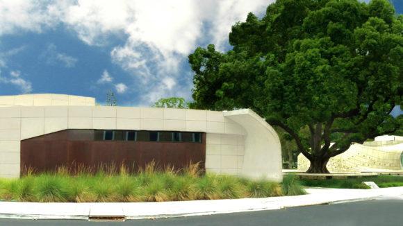 Steel façade clads pavilion