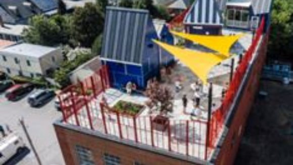 Metal roof panels clad children's museum
