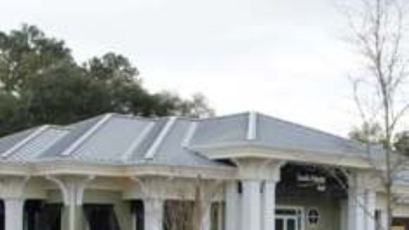 Bank features metal roof panels