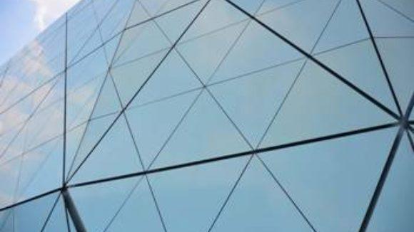 Triangular panels shape museum model
