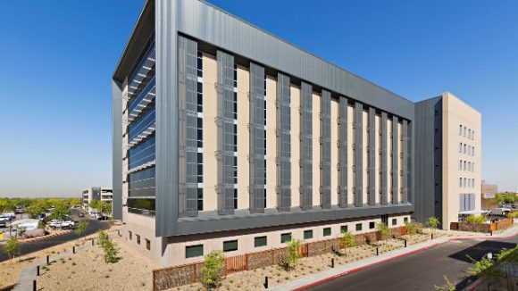 Multiple metal panels clad medical center