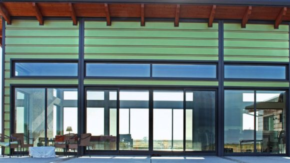 Color-changing panels clad house