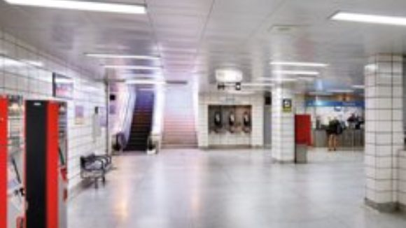 Metal ceilings support subway station