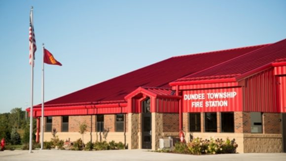 Metal building makes fire station