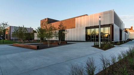 The primary structural system of Huss Center for the Performing Arts at St. Paul Academy and Summit School in St. Paul, Minn., was precast concrete.