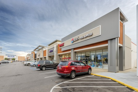 As part of a renovation project completed in 2015, Abrams Architectural Products Inc. distributed and installed more than 25,000 square feet of Laminators Inc.'s Omega-Lite metal composite material (MCM) panels in Slate Grey on the exterior of Harbison Court shopping center in Columbia, S.C.