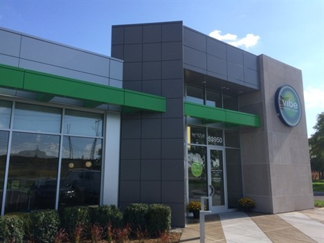 Metro Lakes Construction LLC installed more than 6,000 square feet of Laminators Inc.'s Omega-Lite aluminum composite material (ACM) panels in Metallic Champagne, Slate Grey and custom Green for Vibe Credit Union in Sterling Heights, Mich.
