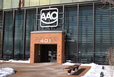 St. Louis-based Lawrence Fabric & Metal Structures Inc. custom fabricated an aluminum vertical louvered sunshade for the front of an American Association of Orthodontists building in St. Louis.