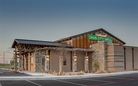 Kincaid Roofing, Windows and Siding LP installed 7,162 square feet of MBCI's 24-gauge SuperLok standing seam system in Burnished Slate and 1,100 square feet of MBCI's Rustic C metal wall panels for Teddy Jack's Hub City Grill in Lubbock, Texas.