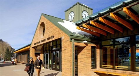 Studio B Architecture and Interiors specified standing seam zinc panels to replace roofing and add to part of Rubey Park Transit Center's façade in Aspen, Colo.