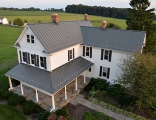 Approximately 4,700 square feet of Woburn, Mass.- based RHEINZINK America Inc.'s PrePATINA graphite grey Double Lock Standing Seam Panels replaced an asphalt roof on a 100-year-old farmhouse located in Maryland.