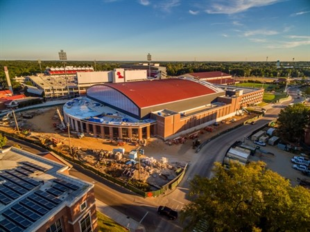 AECOM designed the University of Mississippi's The Pavilion at Ole Miss basketball arena in Oxford, Miss., with a curved and colonnaded entrance façade that relates with its curved roof.